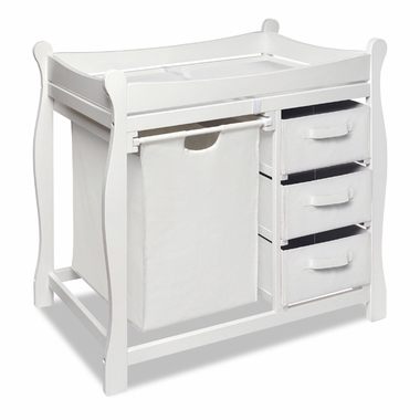 White Sleigh Changing Table with Hamper and 3 Baskets by Badger Basket - Click to enlarge