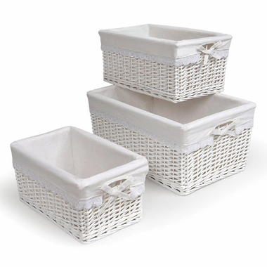 White Three Basket Set with Liners by Badger Basket - Click to enlarge