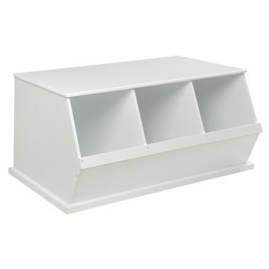 White Three Bin Storage Cubby by Badger Basket - Click to enlarge