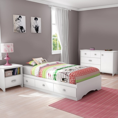 White Tiara 3 Piece Bedroom Set - Tiara Twin Mates Bed, Dresser and Nightstand by South Shore