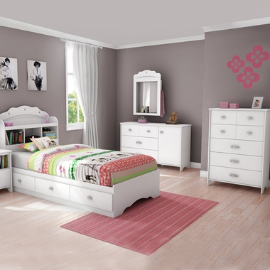 White Tiara 4 Piece Bedroom Set - Tiara Twin Mates Bed, Headboard, Dresser and 5 Drawer Chest by South Shore