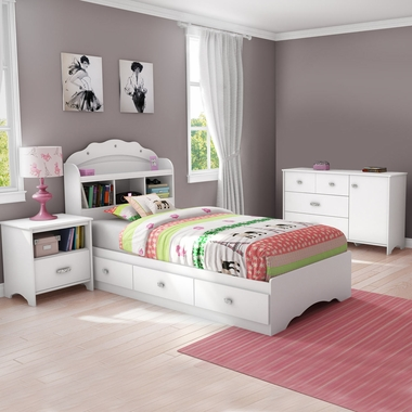 White Tiara 4 Piece Bedroom Set - Tiara Twin Mates Bed, Headboard, Dresser and Nightstand by South Shore