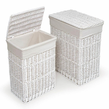 White Two Hamper Set with Liners by Badger Basket - Click to enlarge