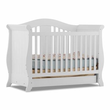 Storkcraft Vittoria 3 in 1 Fixed Side Convertible Crib in White - Click to enlarge