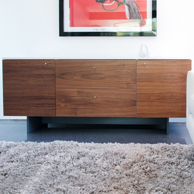 White/Walnut Roh Credenza by Spot On Square