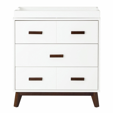 White/Walnut Scoot 3 Drawer Changer Dresser by Babyletto - Click to enlarge