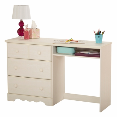 White Wash Summer Breeze Desk with 3 Drawers by South Shore