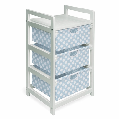White with Blue Polka Dots Three Drawer Hamper and Storage Unit by Badger Basket - Click to enlarge