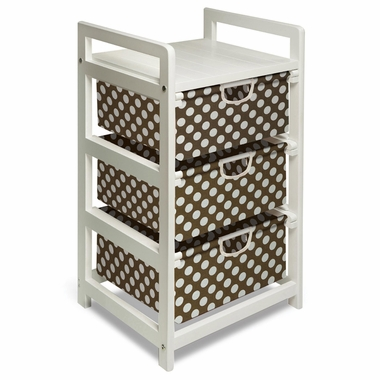 White with Brown Polka Dots Three Drawer Hamper and Storage Unit by Badger Basket - Click to enlarge