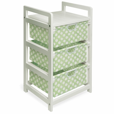 White with Sage Polka Dots Three Drawer Hamper and Storage Unit by Badger Basket - Click to enlarge