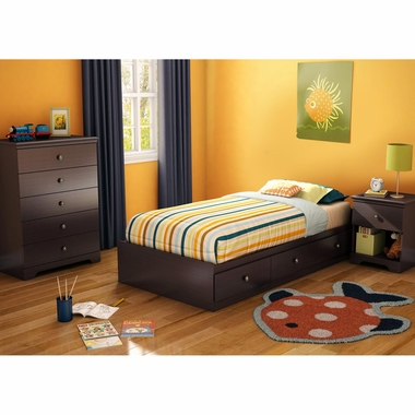 Chocolate Zach 3 Piece Bedroom Set - Zach Twin Mates Bed, 5 Drawer Chest and Nightstand by South Shore