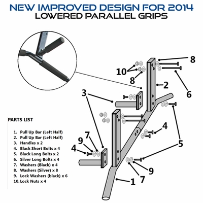 Joist Mount Pull Up Bar With 3 Grip Positions
