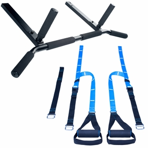 Joist Mount Pull Up bar and Body Weight Resistance Trainer Package