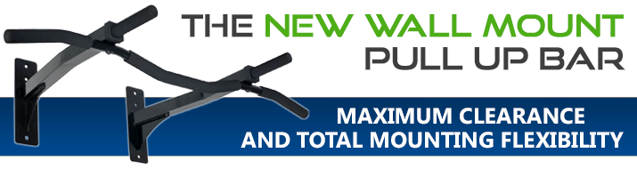 New Wall Mount Pull Up Bar with Reversible Risers