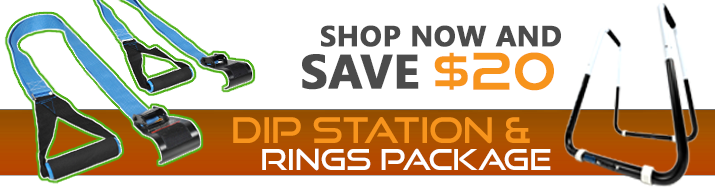 Shop now and save $20 on the Dip Station and Push Up Rings Package Deal