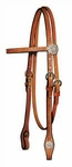 Circle Y Floral Tooled Crystal Headstall