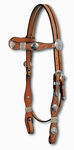 Circle Y Scalloped Rawhide and Concho Browband Headstall