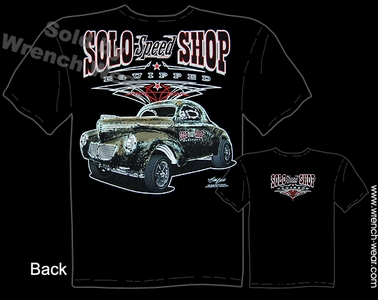 1940 Willys Gasser T Shirts Vintage Drag Racing Shirts 40 Solo Speed Shop Tee