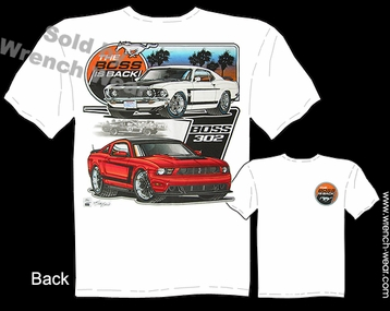 69 Boss 302 Mustang T Shirt 1969 Ford Fastback The Boss Is Back Ponycar Tee