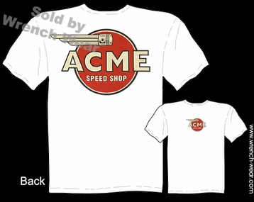 ACME Speed Shop T Shirt Vintage Racing Apparel Piston Logo Hot Rod Tee