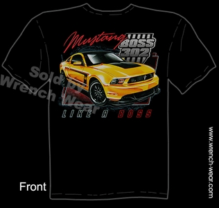 Boss Mustang T Shirt 302 Like A Boss Ford Ponycar Tee