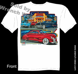 Custom Car T Shirt 40 Mercury Andy�s Diner Tee 54 Chevy 32 Ford 55 Chevy