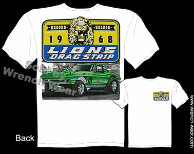 Lions Drag Strip T Shirt 1965 1966 Stingray 65 66 Corvette Vintage Drag Racing Tee