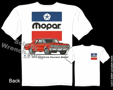 One Hundred Percent Mopar T Shirt 1964 Dodge Factory Lightweight 426 Hemi Tee