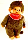"Monchhichi Vintage Re-Issue 18"" Girl with Red Bib & Red Bow Doll"