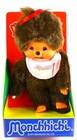 "Monchhichi Vintage Re-Issue 8"" Girl with Pink Bib & Red Bow Doll"