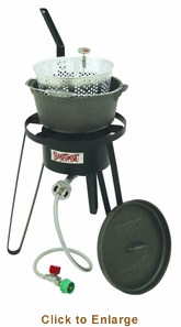 Bayou Classic Cast Iron Deep Fryer Cooking KitFry Pot Cooker With Thermometer10 Psi, Model# B159