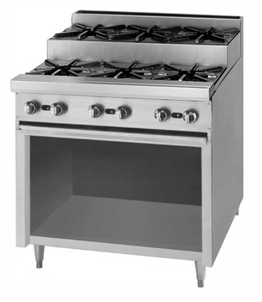 Blodgett Open Top Burners, Eight 12? step up burners on a 48? wide cabinet base BLOD-BPE-4-4