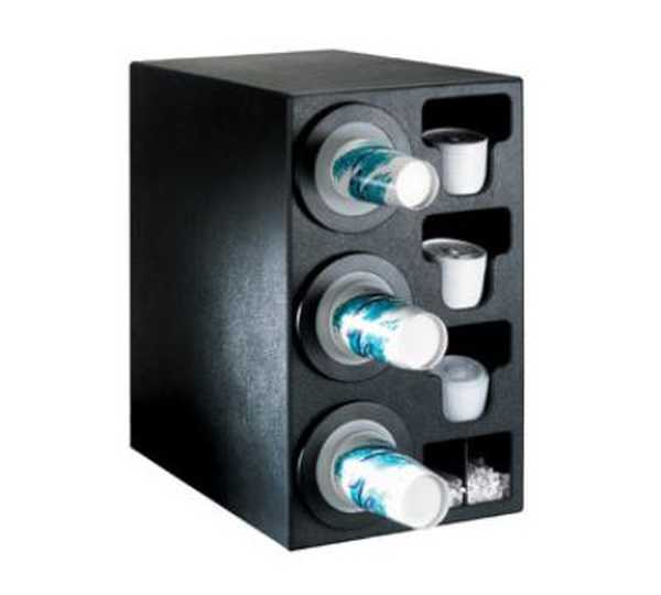 Dispense Rite Countertop Cup Dispensing Cabinet with (3) BFL-2F and built-in lid and straw organizer - Black Polystyrene DIS-BFL-C-3BT