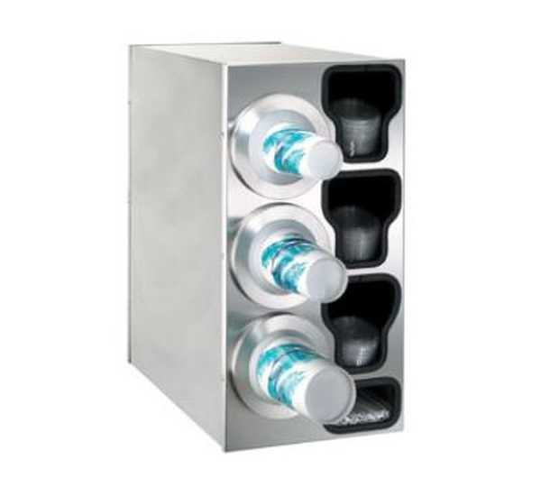 Dispense Rite Countertop Cup Dispensing Cabinet with (3) BFL-2F and built-in lid and straw organizer - Stainless Steel, Model# BFL-C-3LSS DIS-BFL-C-3LSS