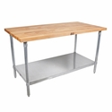 John Boos Jns 1-1/2 Thick MapleTop Work Table Galvanized Base And Shelf 36X30X1-1/2 W/Sct-Oil Galv Shf (Made In The USA), Model# JNS08