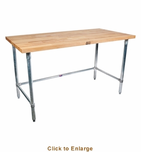 John Boos Snb 1-3/4 Thick MapleTop Work Table Ss Base And Bracing 84X24X1-3/4 W/Sc-Oil (Made In The USA), Model# SNB04A