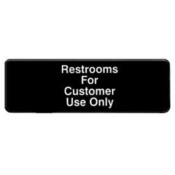 "Thunder Group 9"" X 3"" Information Sign With Symbols, Restroom For Customers Use Only THUN-PLIS9321BK"