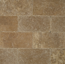 "Bedrosians Pavers Travertine Tile Cobblestone Brown 8"" x 16"""