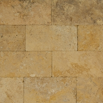 "Bedrosians Pavers Travertine Tile Golden Sunset 8"" x 16"""