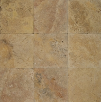 "Bedrosians Pavers Travertine Tile Golden Sunset 8"" x 8"""