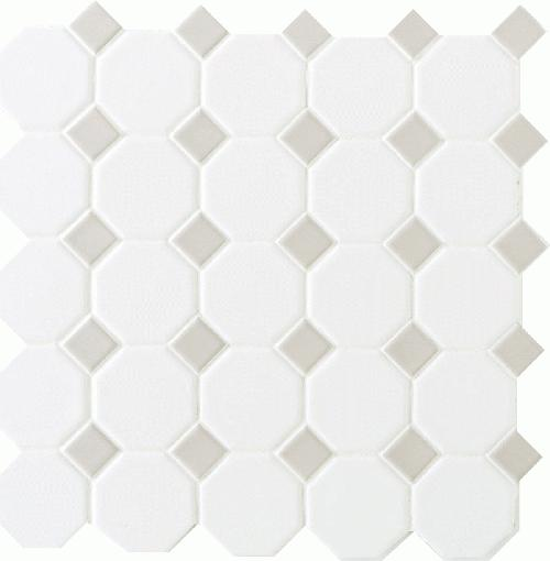 Daltile Octagon Dot 12 Quot X 12 Quot Matte White With Gray Gloss