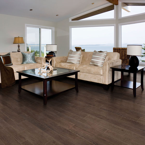 "Cork Flooring Sacramento: Ragno Cambridge Oak 9"" X 36"" Black Wood Look Porcelain"