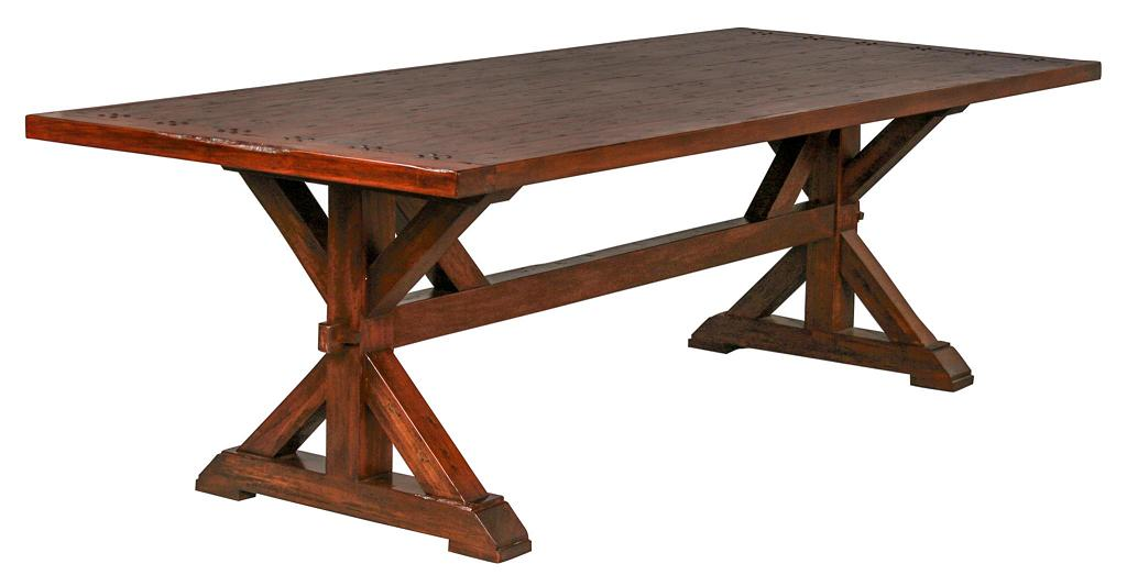 trestle kitchen table set rustic country dining wood