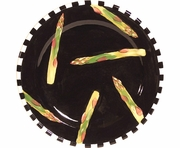 Black and White Vegetable/Asparagus Rimmed Salad Plate