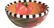 Black and White Vegetable Cereal Bowl/Red Pepper