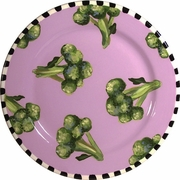 Black and White Vegetable Rimmed Dinner Plate/Broccoli