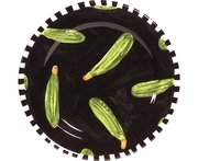 Black and White Vegetable/Zucchini Rimmed Salad Plate