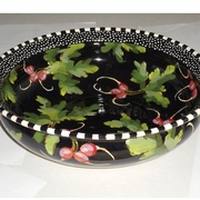 Black Radish Low Round Bowl