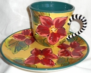 Red Poinsettia/Tea and Biscuit Plate Set