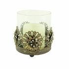 Bronze Metal Flower Candle Holder with Crystals